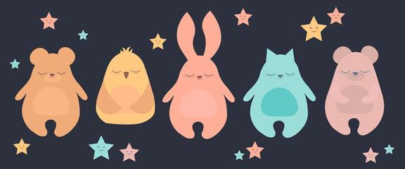 Flat Vector illustration set of cute sleeping animal including bear, rabbit, cat and owl