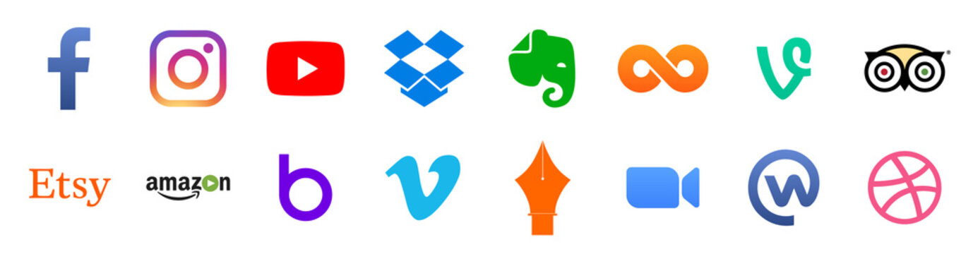 Popular social media and other icon symbols