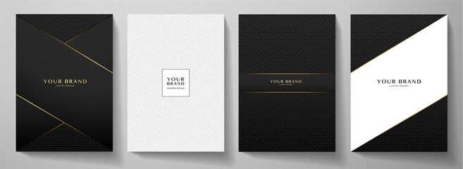 Obraz Modern black cover design set. Creative abstract with diagonal line, carbon pattern (triangle texture) on background. Premium vector collection for catalog, brochure template, magazine layout, booklet - fototapety do salonu