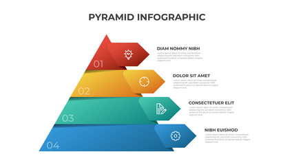 Fototapeta Pyramid infographic template vector with 4 list, options, levels diagram. Layout element for presentation, banner, brochure, etc. obraz