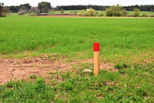 Mit Holzpfahl markierter Grenzstein zur Landvermessung
