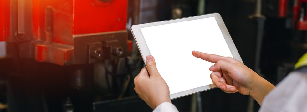 Engineer worker use digital tablet display blank white screen.
