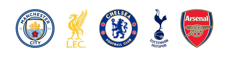 Manchester City, Liverpool, Chelsea, Tottenham and Arsenal logo emblem football England Primere League. Editorial image. VINNITSIA, UKRAINE. MARCH 11, 2021.