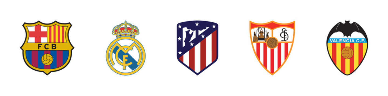 Real Madrid, Barcelona, Atletico, Sevilla and Valensia logo emblem football Spain Primera. Editorial image. VINNITSIA, UKRAINE. MARCH 11, 2021.
