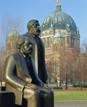 Statues of Marx and Engels and the Berlin Cathedral (Dom), Berlin