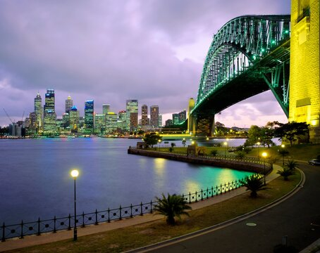 City skyline and the Sydney Harbour Bridge at dusk, Sydney, New South Wales