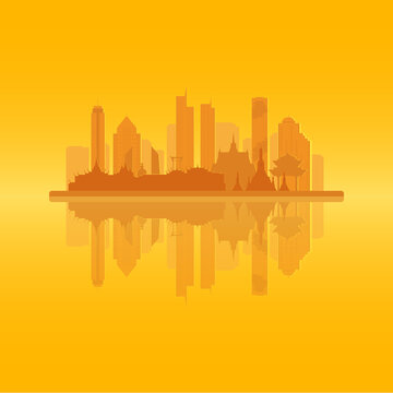 Bangkok skyline with famous landmarks with backlit and reflection. Vector EPS10 illustration. Each building is a separate layer. Straight lines are aligned by pixels.
