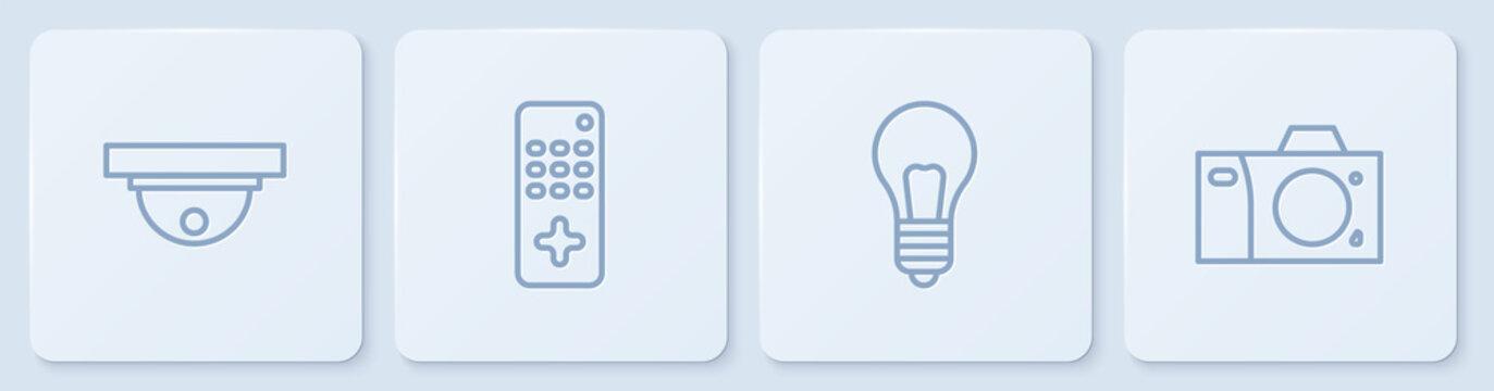 Set line Motion sensor, Light bulb with concept of idea, Remote control and Photo camera. White square button. Vector.