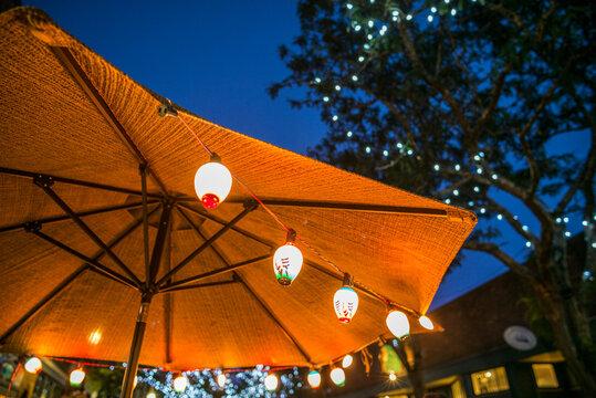 USA, Massachusetts, Cape Ann, Gloucester. Main Street Block Party, lanterns