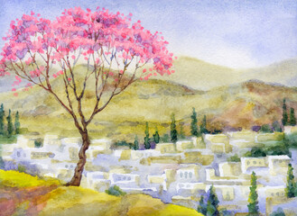 Watercolor landscape. Blooming almond tree on a mountain above the city