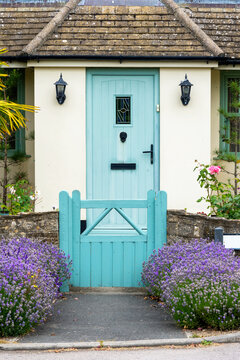 Blue cottage door and front garden flowers