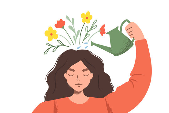Thinking positve as a mindset. Woman watering plants that symbolize happy thoughts. Flat vector illustration