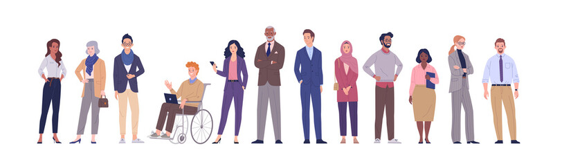 Fototapeta Multinational business team. Vector illustration of diverse cartoon men and women of various ethnicities, ages and body type in office outfits. Isolated on white. obraz