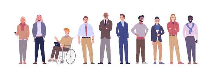 Fototapeta Businessmen team. Vector illustration of diverse multinational cartoon men in office outfits. Isolated on white. obraz