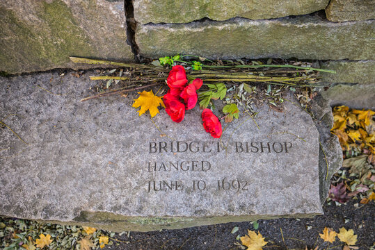USA, Massachusetts, Salem. Stone memorial to the Salem Witch Trials