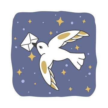 White bird with envelope in beak on nightly sky. Flat style vector illustration.