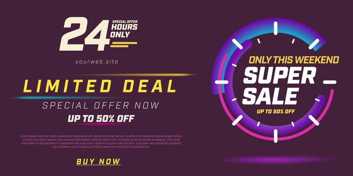 Only this weekend limited deal special super sale offer. Now to buy with up to 50 percent off only 24 hour and website information banner template vector illustration on purple background
