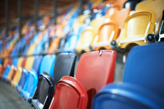 Colorful chairs inside contemporary arena