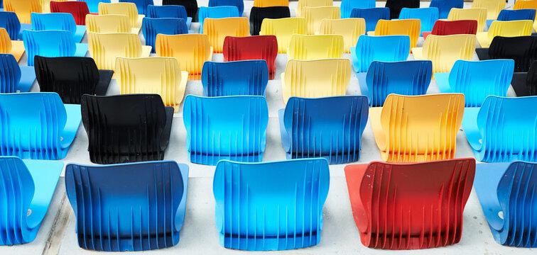 Colorful bleachers on modern stadium