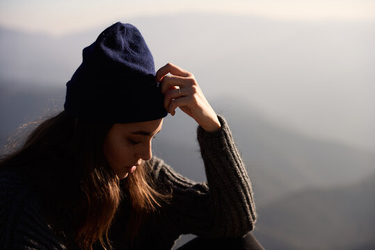 Close-up of sad young woman looking down