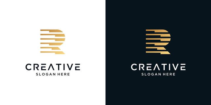 Luxury letter R logo design vector