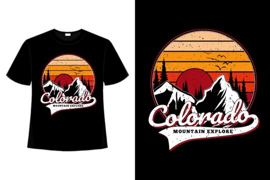 T-shirt colorado mountain pine retro explore