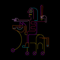 Neon colors isolated on a black background Knight On Horseback vector illustration.