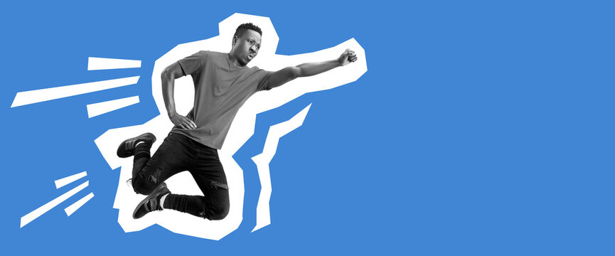 African-american man flying like superhero. Collage in magazine style with bright blue background. Flyer with trendy colors, copyspace for ad. Discount, sales season, fashion and style concept.