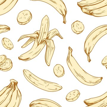 Seamless banana pattern on white background. Endless repeatable texture with peeled fruits and their slices for wrapping. Hand-drawn monochrome vector illustration of fruity backdrop in retro style
