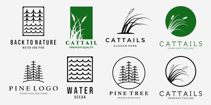 Set Bundle of Cattails Reeds Creeks Pine Forest Line Art Vintage Vector Logo, Illustration Design of Wildlife Concept
