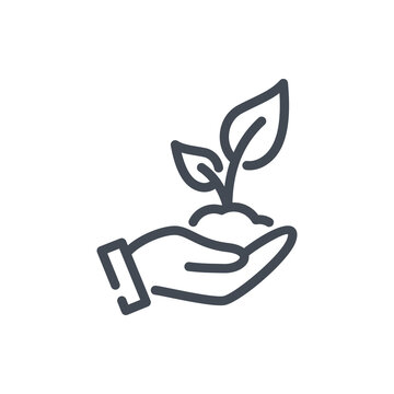 Plant in hand line icon. Hand holding plant with leaves vector outline sign.