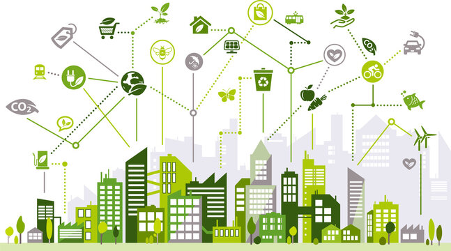 Sustainable, environmentally conscious city vector illustration. Green concept related to urban eco protection, sustainability, future ecological society, resource saving, renewable energy & recycling