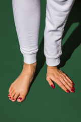 Sportive. Bright fashionable hand and leg working up daily things together. Modern artwork,...