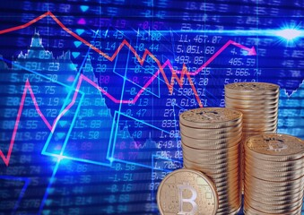 Red graphs over stack of gold coins against stock market data processing on blue background