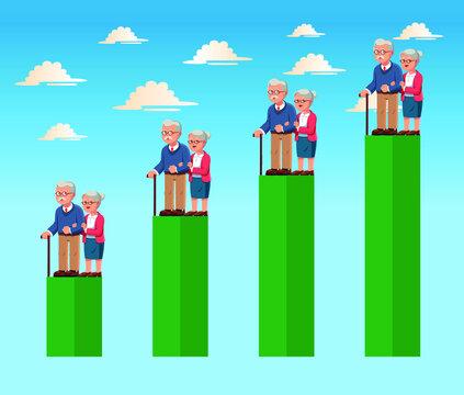 Elderly senior couple aging population and statistic chart vector illustration.