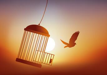 Fototapeta Concept de la liberté, avec un oiseau qui s'évade de sa cage et qui s'envole devant un coucher du soleil. obraz