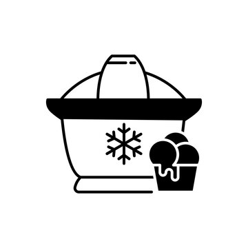 Ice cream maker black linear icon. Electrical utensil for home treat preparation. Icecream machine for household. Small kitchen appliance. Outline symbol on white space. Vector isolated illustration