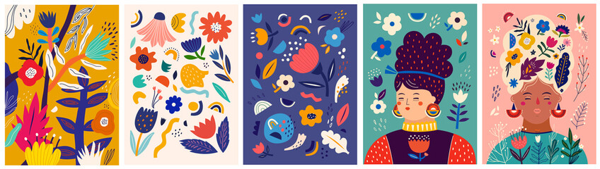 Beautiful bright spring wallpapers, posters, covers, cards with flowers, leaves, floral bouquets, flower compositions.