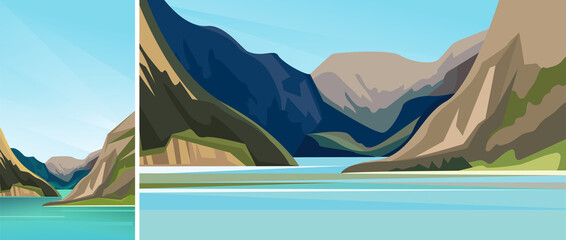 Beautiful scandinavian fjord. Set of natural landscapes in vertical and horizontal orientation.