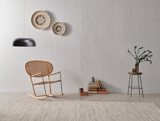 Grey stone wall background, wicker chair and frame style with lamp decoration, vase of plant book.