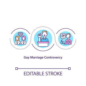 Gay marriage controversy concept icon. Civil rights for LGBT people. Social equality. Religious issues idea thin line illustration. Vector isolated outline RGB color drawing. Editable stroke