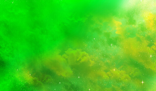 Stars in the Universe Galaxy yellow green Background
