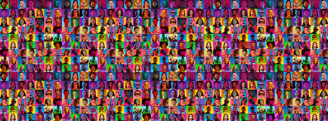 Collage of faces of surprised people on multicolored backgrounds. Happy men and women smiling. Human emotions, facial expression concept. Different human facial expressions, emotions, feelings. Neon