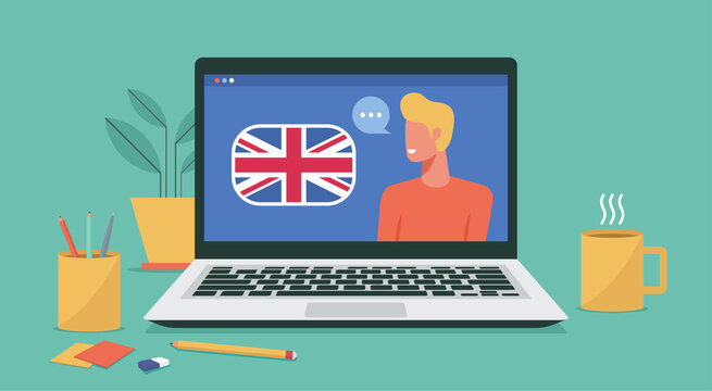man study or learn english online course or on laptop computer concept, e-learning and distant learning, education of foreign language lesson on internet, vector flat illustration