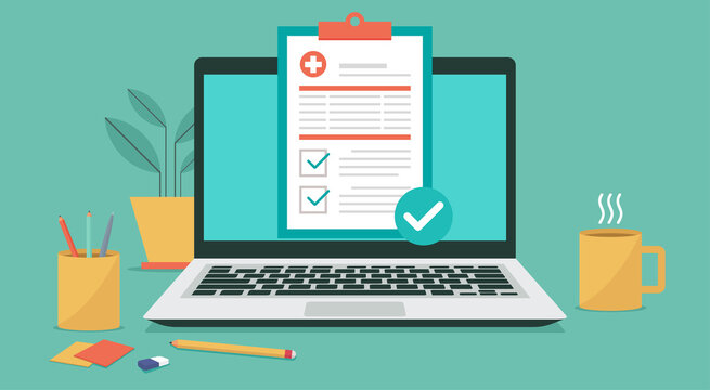 medical prescription on laptop computer screen, online healthcare electronic checklist and telehealth concept, vector flat illustration