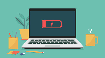 Obraz Laptop computer with low battery icon on screen, vector flat illustration - fototapety do salonu