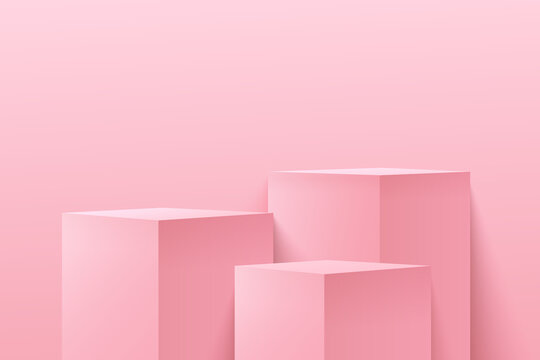 Modern light pink cube step pedestal pedestal podium with empty room background. Abstract vector rendering 3d shape for cosmetic products display presentation. Pastel minimal scene studio room.