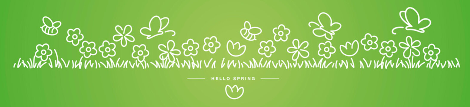 Hello Spring background, banner, pattern handwritten design with bees, butterflies and colorful spring flowers in grass green isolated