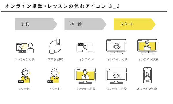 オンライン相談、オンラインレッスンのシンプルなアイコンセット3_3