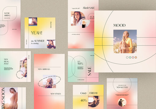 Social Media Post and Story Layout with Gradient Background